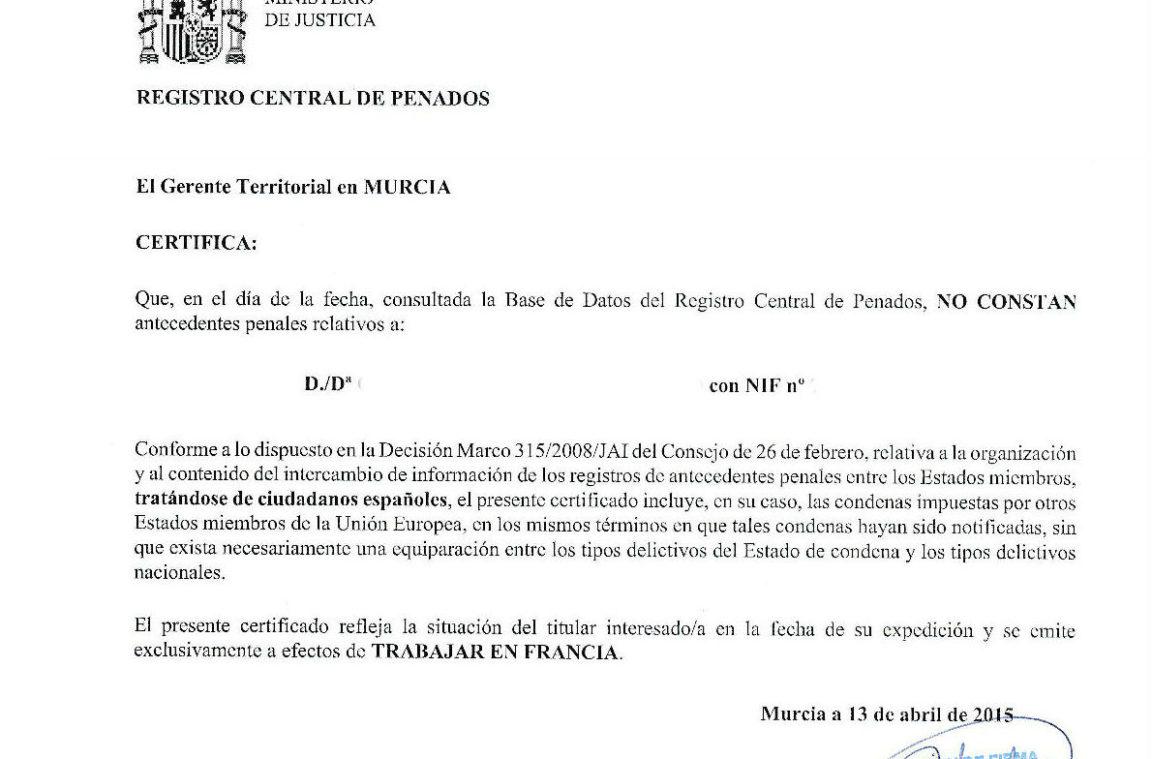 Certificado de antecedentes penales blog for Ministerio del interior antecedentes