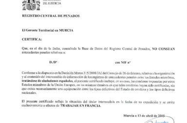 Certificado de Antecedentes Penales.